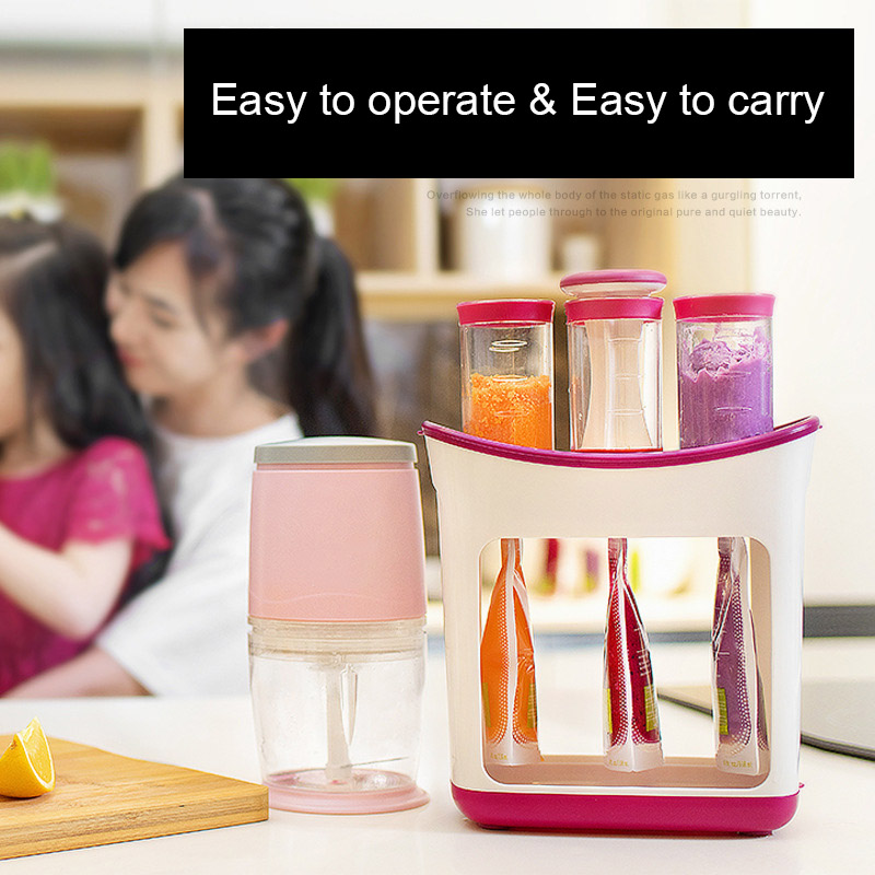 Squeeze Food Station Baby Food Organization Storage Containers Maker Set S7JN