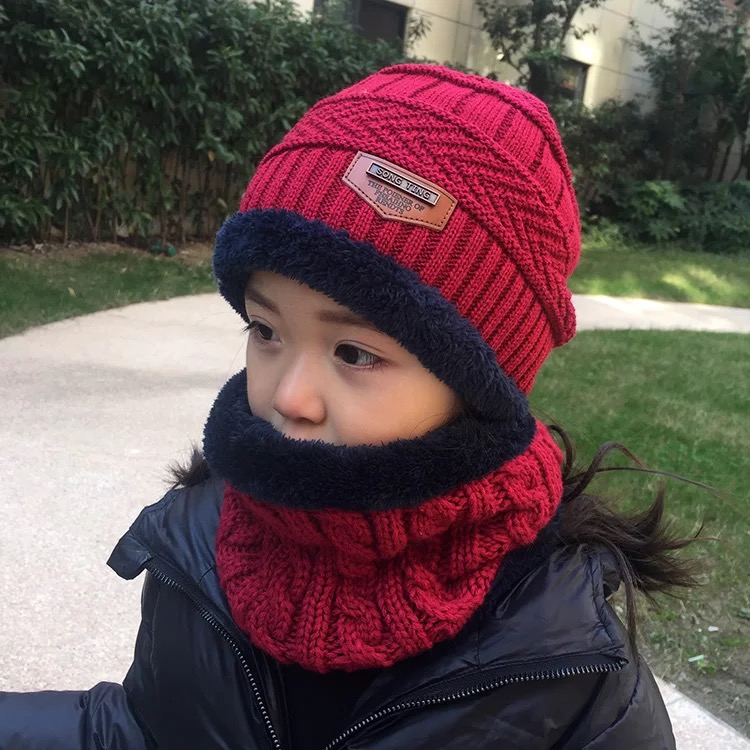 Gorra Con Bufanda Para Niños Sombrero De Lana Invierno Protección De Oreja 2 Pcs