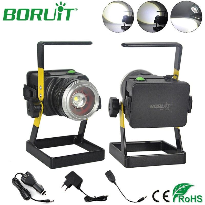 BORUiT LED Spot Light Rechargeable Étanche Lumière D'inondation Extérieure 4 Modes D'éclairage Zoomables Lampe D'inondation pour le Camping de Chasse