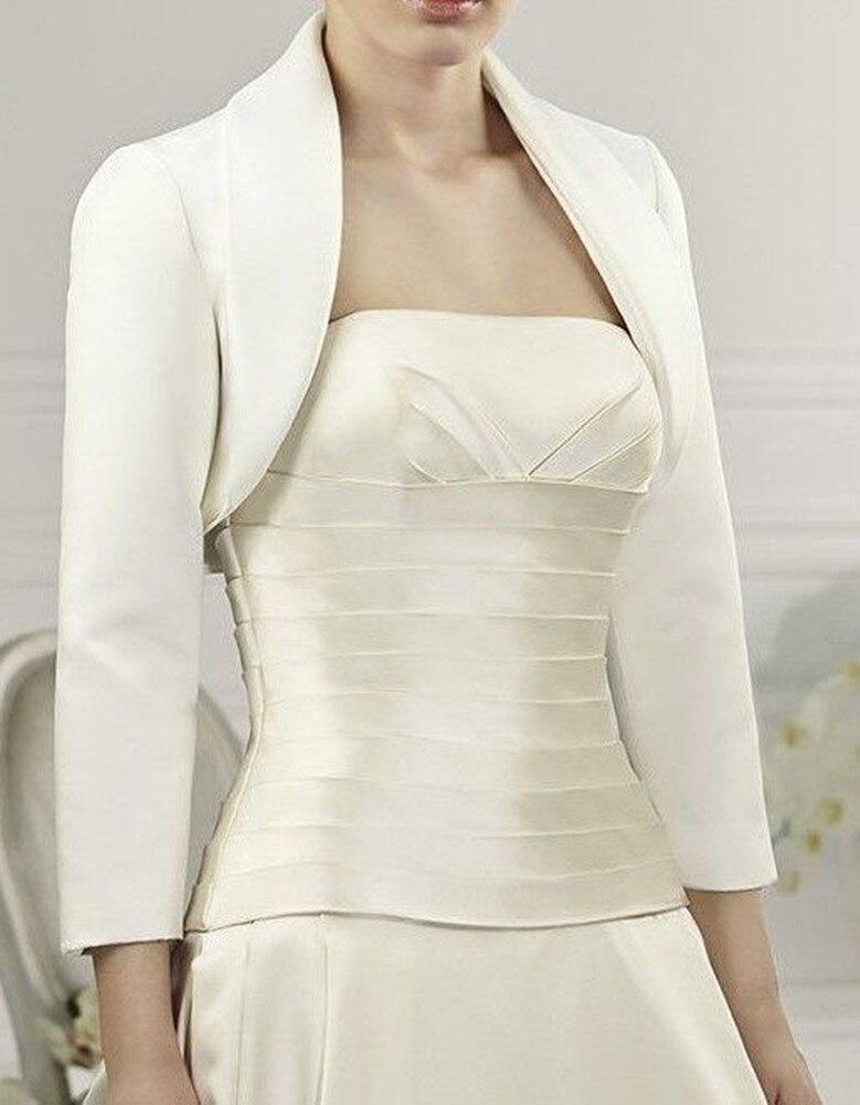 Easttg Satin Turn Down Collar White/Ivory Bridal Jackets 3/4 Sleeve Wedding Bolero / Wrap Custom Made