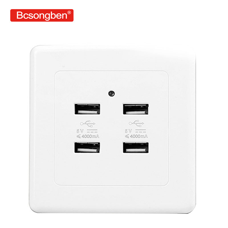 Luxury 4A 5v Dc 36v/220V 4 Ports USB Plug Wall Pop Power Socket  Home Wall Electrical Charger For Charging Outlet Socket