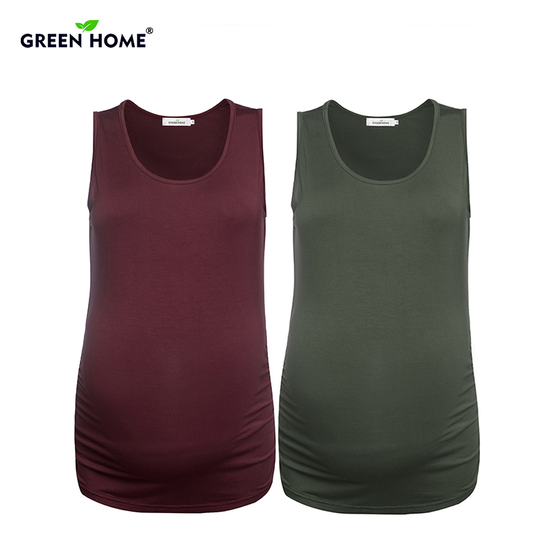 Green Home 2 PC Summer Pregnancy Camis Maternity Tank Tops Elastic Sleeveless Gravida Shirt Clothes for Pregnant Women Vest