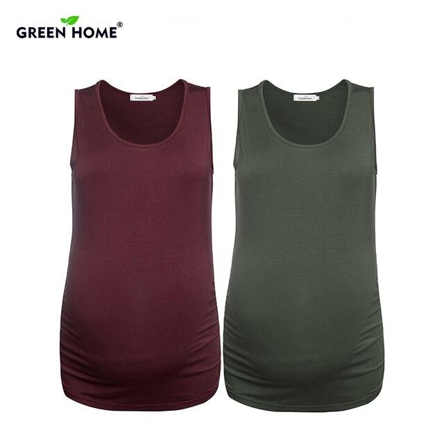 173cfc38e185b Green Home 2 PC Summer Pregnancy Camis Maternity Tank Tops Elastic  Sleeveless Gravida Shirt Clothes for Pregnant Women Vest