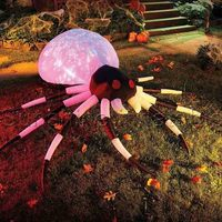 Hot Selling Outdoor Giant White And Black Halloween Spider Inflatable Halloween Spider With Led Lights For