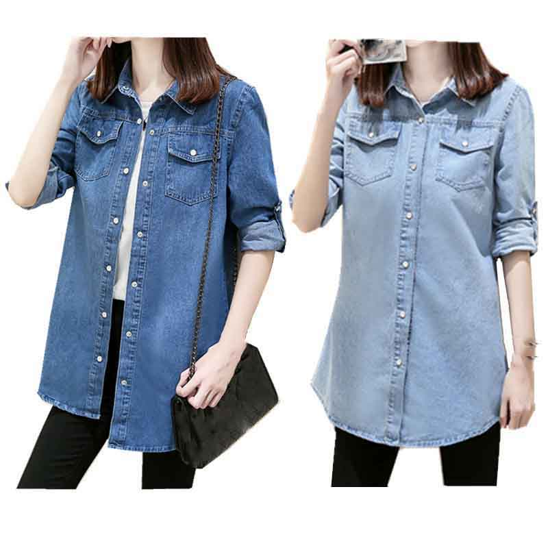 Fashion 2019 Women Long Sleeve Jean Blouse Vintage Blue Denim Shirt Plus Size Casual Tops(China)