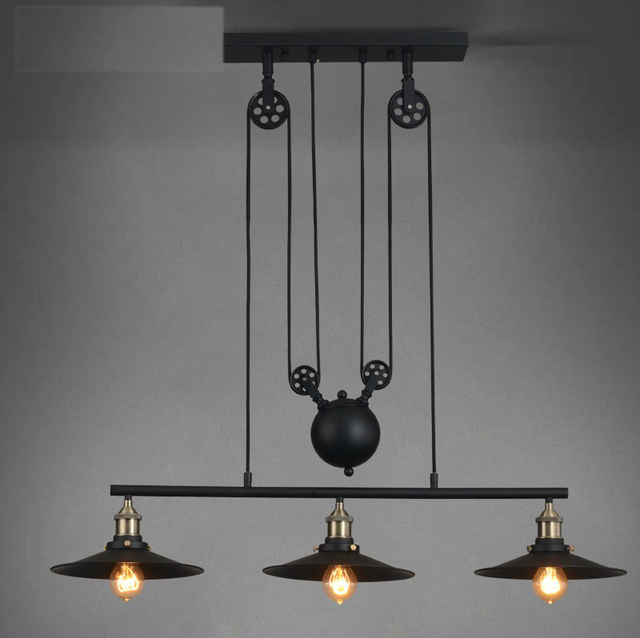 3 Head Vintage Iron Rh Loft American Country Pulley Pendant Lights Adjule Wire Lamps Retractable