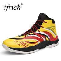 2017 Luxury Brand Men Basketball Boots Yellow Blue Mens High Top Basketball Sport Boots Breathable Original