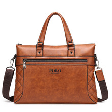 Polo Genuine Pu Leather 2016 Business Casual Men Messenger Bags Vintage High Quality Shoulder Famous Brand Handbags