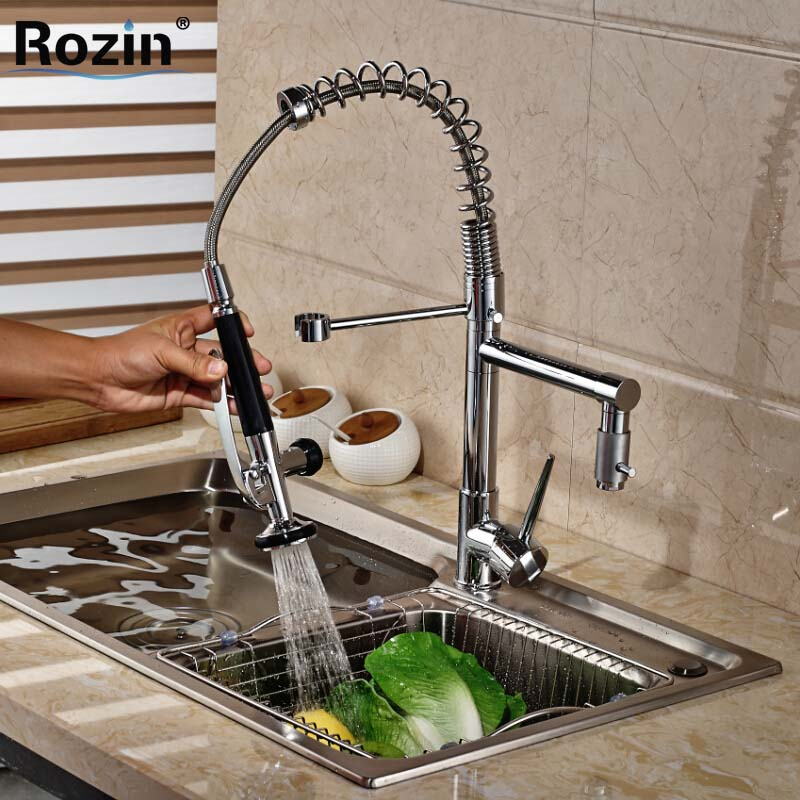 Chrome Finish Hands Free Sprayer Head Kitchen Sink Faucet Deck Mount with Hot and Cold Water