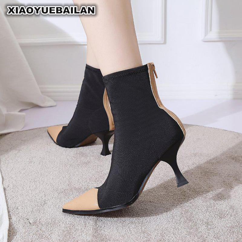 2018 Autumn And Winter European American Sexy Sharp Pointed Socks Short Boots Female Wine Glasses High heeled Women9.26