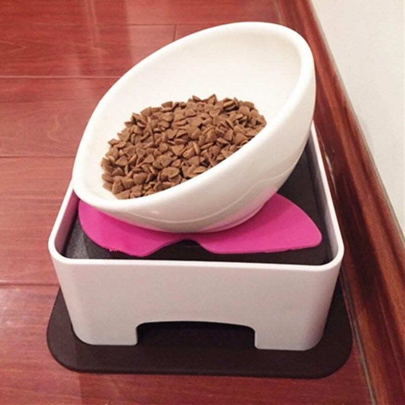 1 pièces inclinaison en céramique plat Rack bol Pet chat chien bol avec plat Rack Pet chats chiens nourriture contient des fournitures d'alimentation bouledogue français