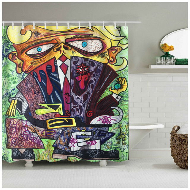 Abstract Art The Man With Weird Eyes Clothes For Who Love Bathroom Shower Curtain Home Bath Accessory Colorful