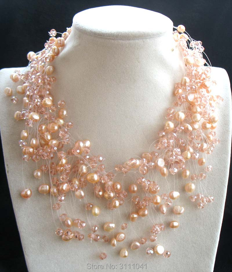 freshwater pearl white pink quartz baroque necklace 18inch FPPJ wholesale beads nature наволочки other 45 45 18inch