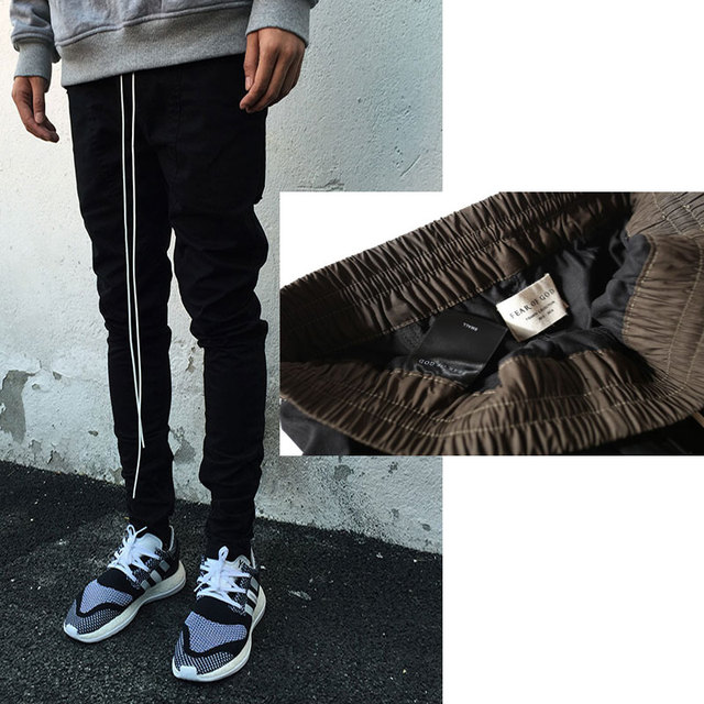 Pantalones Joggers Mens Ropa Urbana Europea Negro Kanye West Justin Bieber Vestido Cremallera Pantalones de Chándal Harem Temor De Dios Tiene Logo