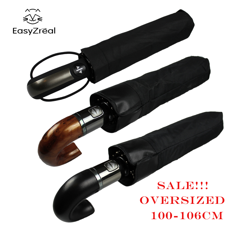 EasyZreal Leather Curved Handle men Perniagaan automatik Umbrella Male Windproof Black Big auto Payung parasol Rain paraguas