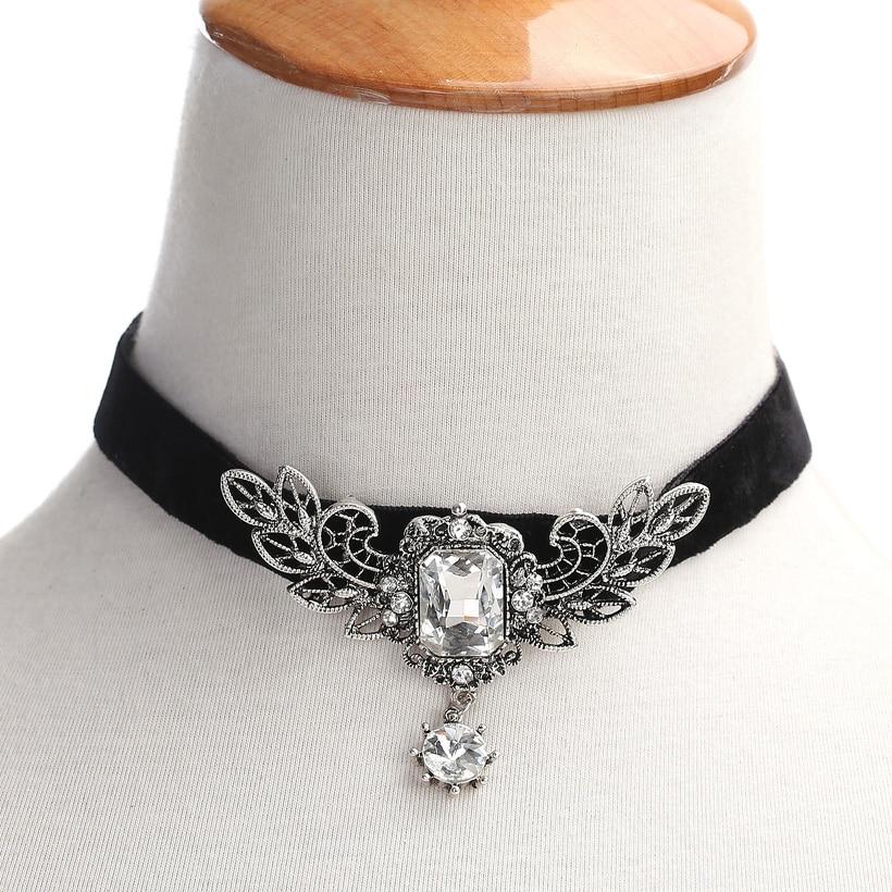 YLWHJJ new women wing crystal red gem choker necklace girl torques brand rhinestone short metal choker hot fashion black jewelry