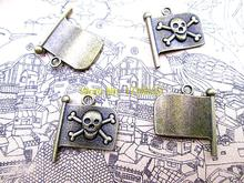15pcs-- Pirate skull flag charms Antique bronze tone Pirate skull flag Pendants Charms 18x20mm(China)
