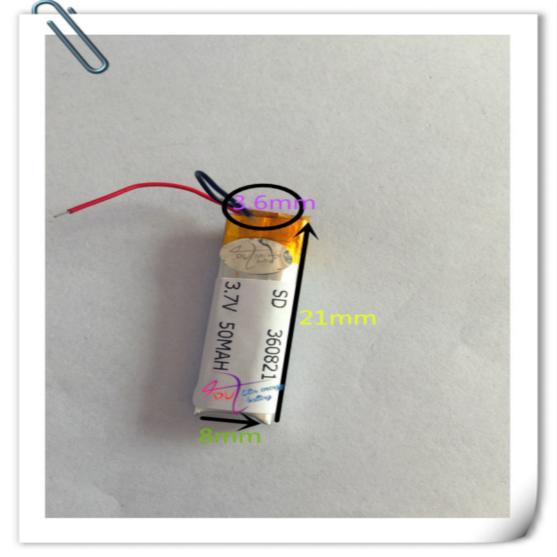 10pcs <font><b>3.7v</b></font> <font><b>50mah</b></font> 360821 351020 Lithium Polymer LiPo Rechargeable <font><b>Battery</b></font> li ion li-polymer For Mp3 bluetooth Recorder headphone image