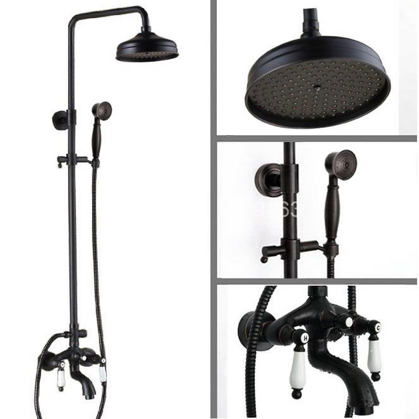 Black Oil Rubbed Brass Wall Mounted Two Ceramic Handles Bathroom Rain & Hand Shower & Tub Faucet Set Mixer Tap ars043