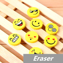 10 pcs Lot Smile face Erasers rubber for pencil kid funny cute stationery Novelty eraser Office