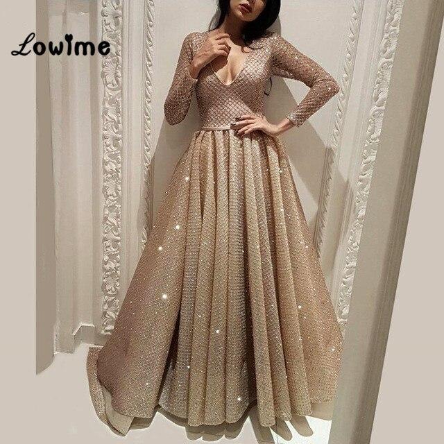 Arabic Long Sleeves Dubai Turkish Abaya V Neck Dresses 2018 Abendkleider Formal  Gowns Muslim Party Dress Robe De Soiree Elegant 3858d67ce1dd