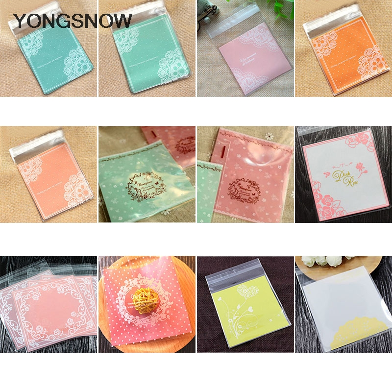 50pcs 10cm Plastic Bags Food Cookie Candy Bag Wedding Decoration Christmas New Year Party Supplies Gift Packaging Pouches