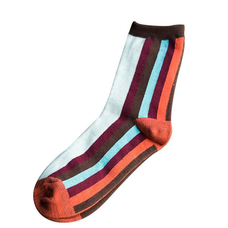 1pair New Colorful Fashion Hit Color Rainbow Stripes Socks Cotton Soft Cool Men/women Socks Casual Colorful Men Socks