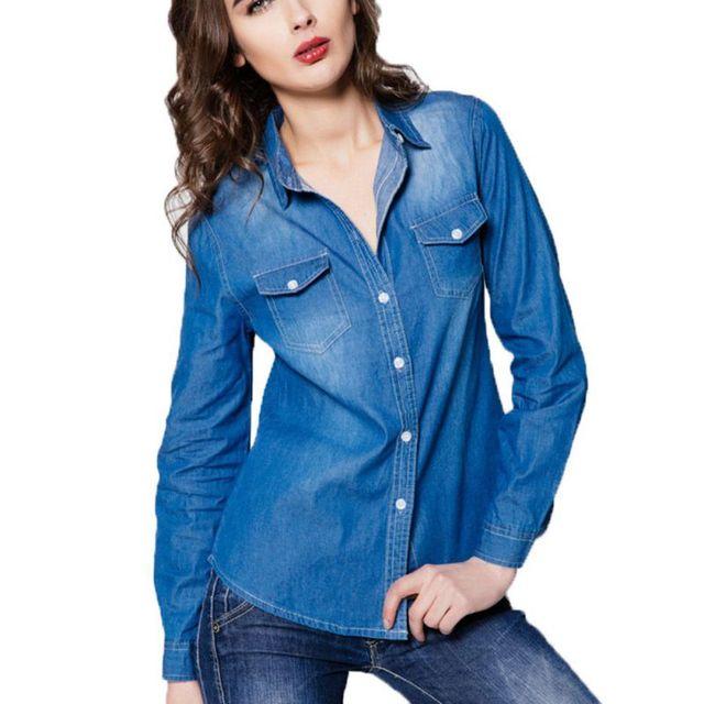 Джинсовая Рубашка Женская Развертки Джинсовой Верхняя Одежда Кардиган в Стандартном Исполнении Для Женщин Блузка