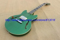 Hot ! customised electric guitar hollow body jazz guitar solid green ,build in customer specs way,high grade!