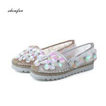 Women s Sequins Mesh Platform Flats Slip-on Loafers Brand Designer  Breathable Moccasins Brogues Leisure Espadrilles Shoes Women 4029ff136191