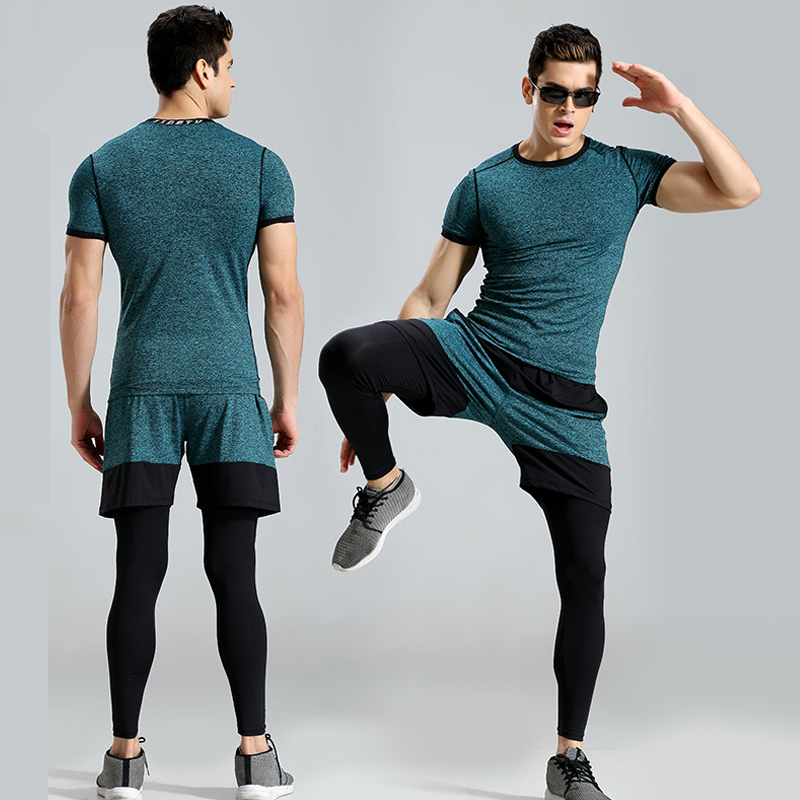 Hot 3 piece set Compression Tracksuit Fitness Tight Running Set T-shirt Legging Men's Sportswear Remix Black Gym Sport Suit лонгслив remix remix mp002xw0qs3h