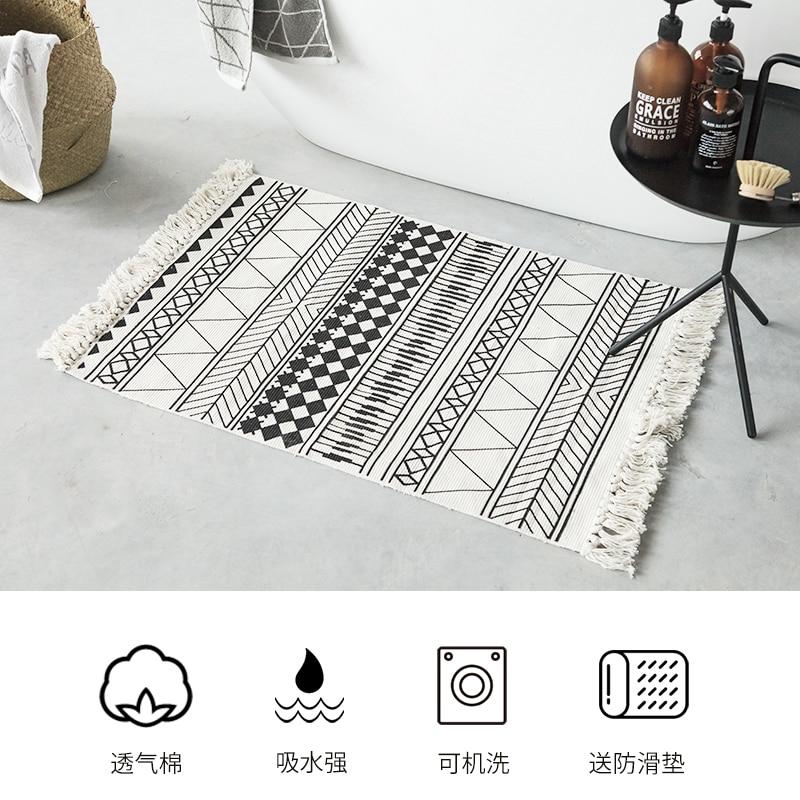 Nordic Woven Tassel  Bedside Carpet Absorbent Black And White Stripes Bathroom Mat