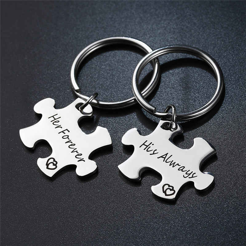 """1 Pair /""""His Always/"""" and /""""Hers Forever/"""" Keyring Puzzle Key Couple Keychain Silver"""