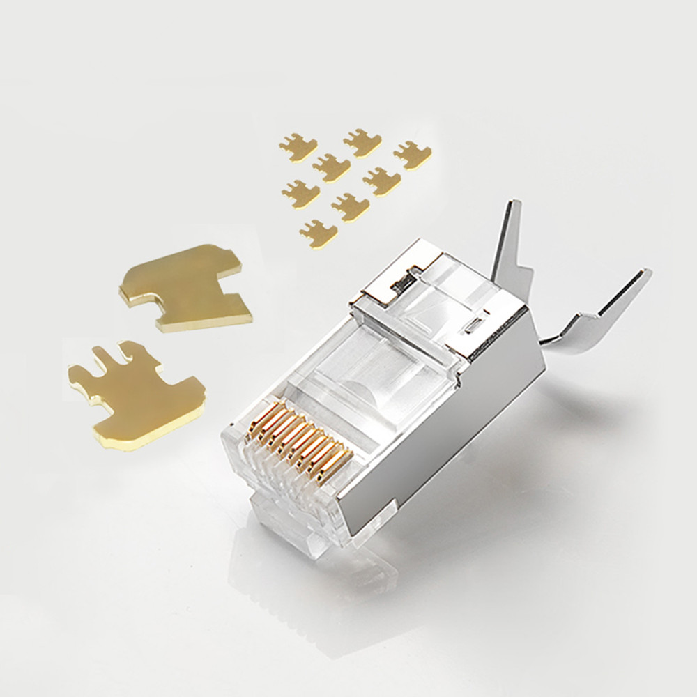 Cat6a Cat7 RJ45 Plug Shielded FTP 8P8C Network Connectors 50u Gold Plated For Cat6a Cat7 Cable RJ45 Connector