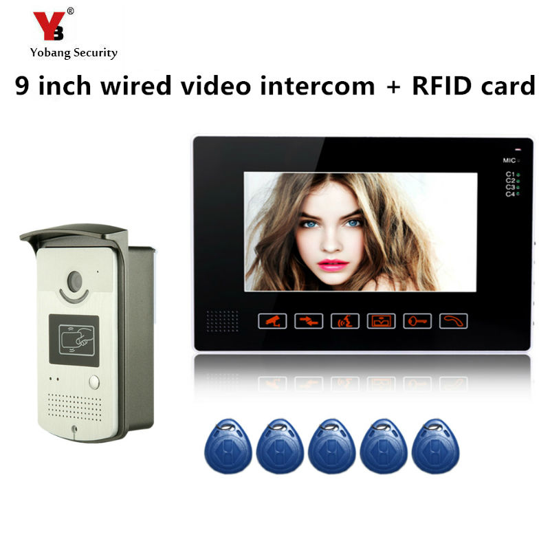 Yobang Security freeship 9 Video Intercom Door Phone System With 1 black Monitor 5pcs RFID RFID Access System  Doorbell Camera yobang security freeship 7 video intercom for villa 2 monitor doorbell camera with 5pcs rfid cards hd doorbell camera in stock