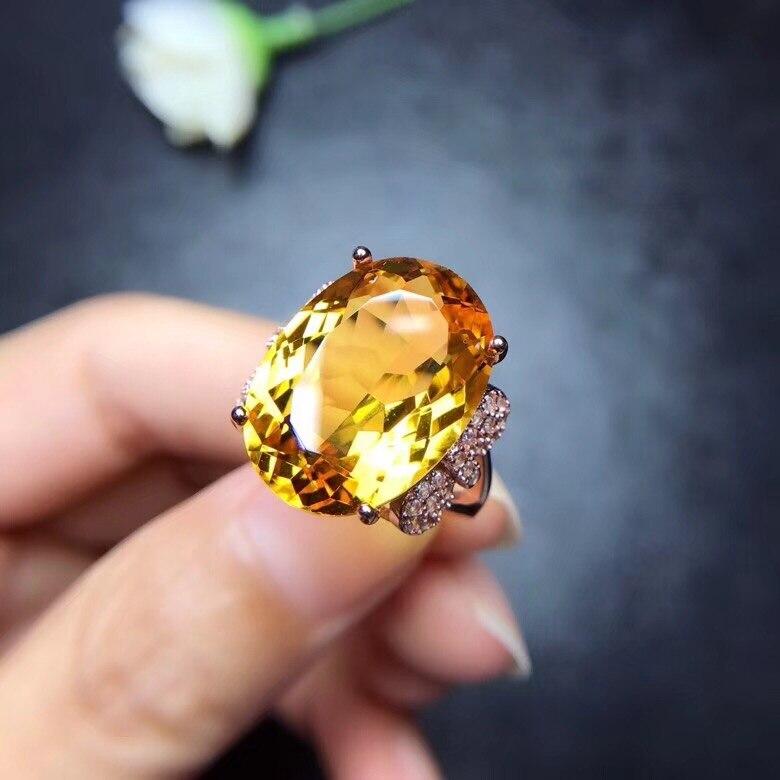 Anello citrino naturale, 10 carat gemme, colore autentico, 925 argento, arte squisita