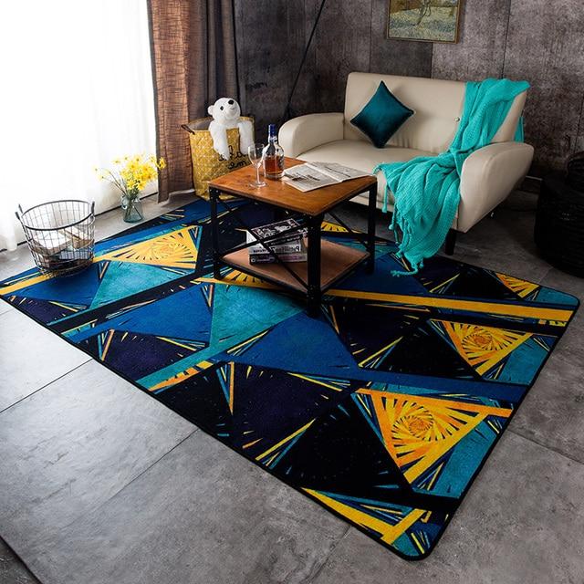Style Moderne G 233 Om 233 Trique Bleu Et Jaune Couleur Tapis De