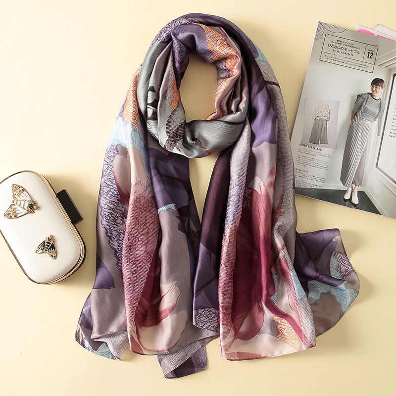 Bufanda de seda para playa Pashminas chal caliente suave bufandas de verano pañuelo elegante de marca de lujo para mujer