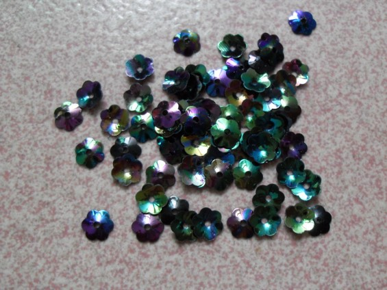 Free Shipping 50g 6mm Effect Iridescent Concave Flower Sequins, Black AB