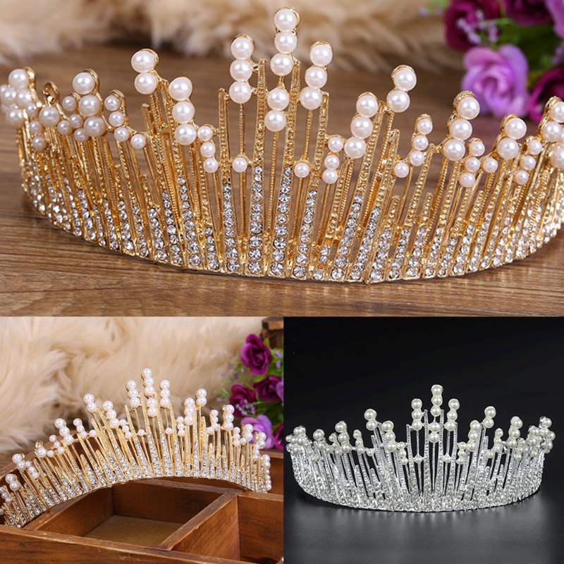 Multilayers Luxury Crystal Pearl Tiara Crown Wedding Bridal Party Jewelry 1PC