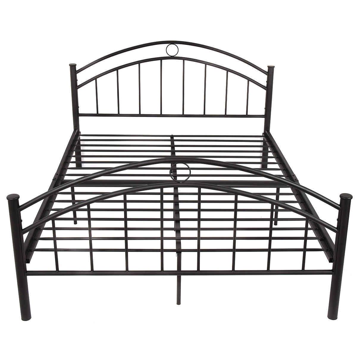 ffcae7f08634 ... Giantex Black Queen Size Metal Steel Bed Frame Mattress Platform with  Headboard Modern Bedroom Furniture HW53980+ ...