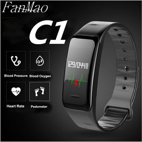 imágenes para FanMao Deporte Salud Pulsera Heart Rate monitor de Presión Arterial de Oxígeno Inteligente Pulsera Rastreador de Ejercicios Banda Inteligente para IOS Android