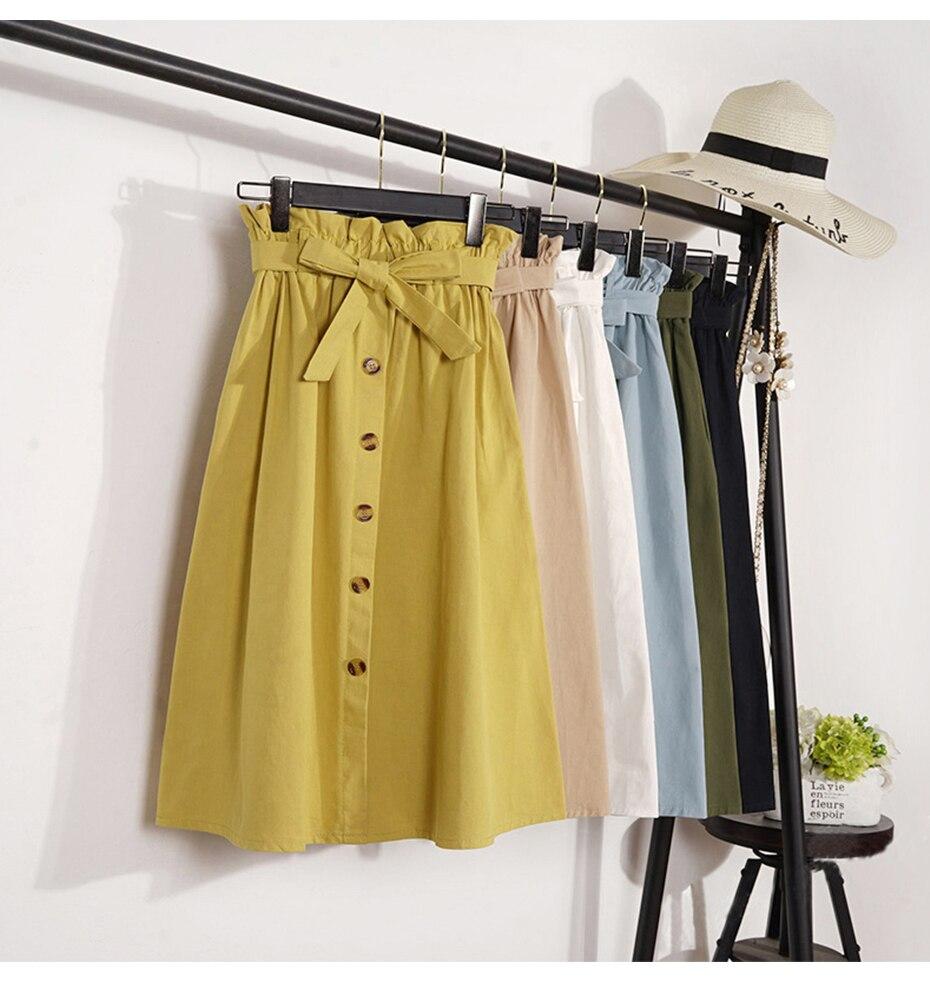 Elegant Button High Waist Pleated Midi Knee Length Skirt