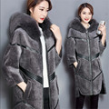 Top Quality Women Autumn Wool Coat Thicken Warm Long Fox Fur Hood Female Jackets And Coats Pu Patchwork Outwear Coats Wt1343