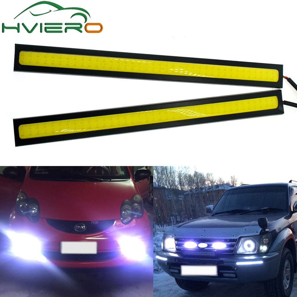 цена на 1Pcs 17cm Car DRL COB Driving Fog lamp Double Row76Leds Daytime Running lights Auto Waterproof update Ultra Bright LED DC 12V