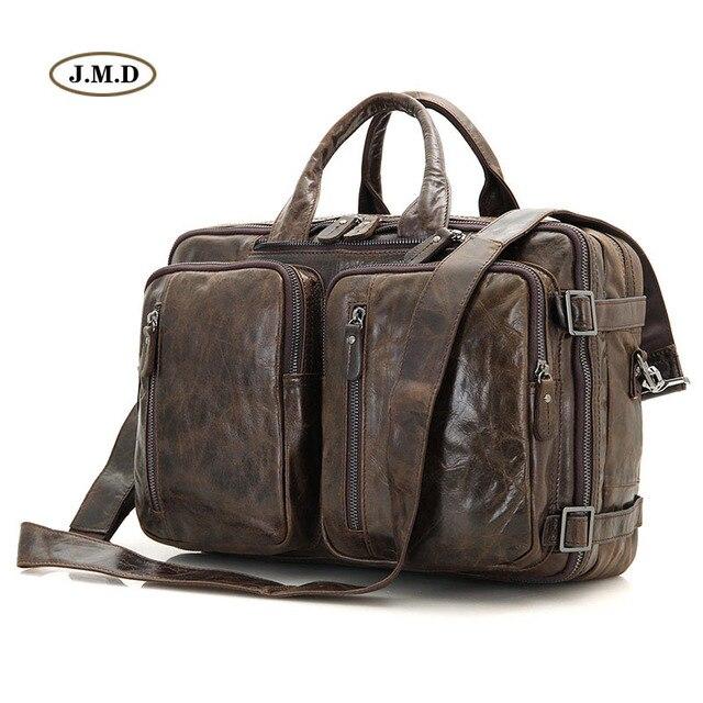 c49723373b J.M.D New Style Genuine Vintage Leather Men Handbag Laptop Bag Messenger Bag  Multifunctional Business Briefcase 7014C-1