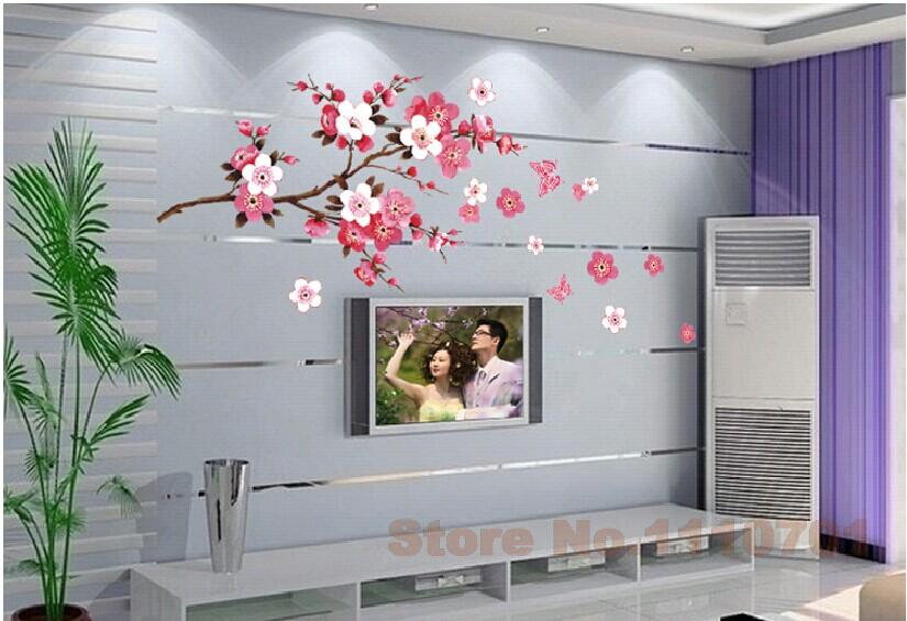 China Style Red Peach Flowers Vinyl Wall Stickers Home Decor Rooms Living Sofa Wallpaper Design Wall Art Decals House Decoration In Wall Stickers From Home