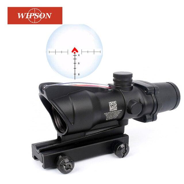 WIPSON ACOG 4X32 Optic Scope Riflescope CAHEVRON Reticle Fiber Red Illuminated Optic Sight 20mm Rail Mount цена