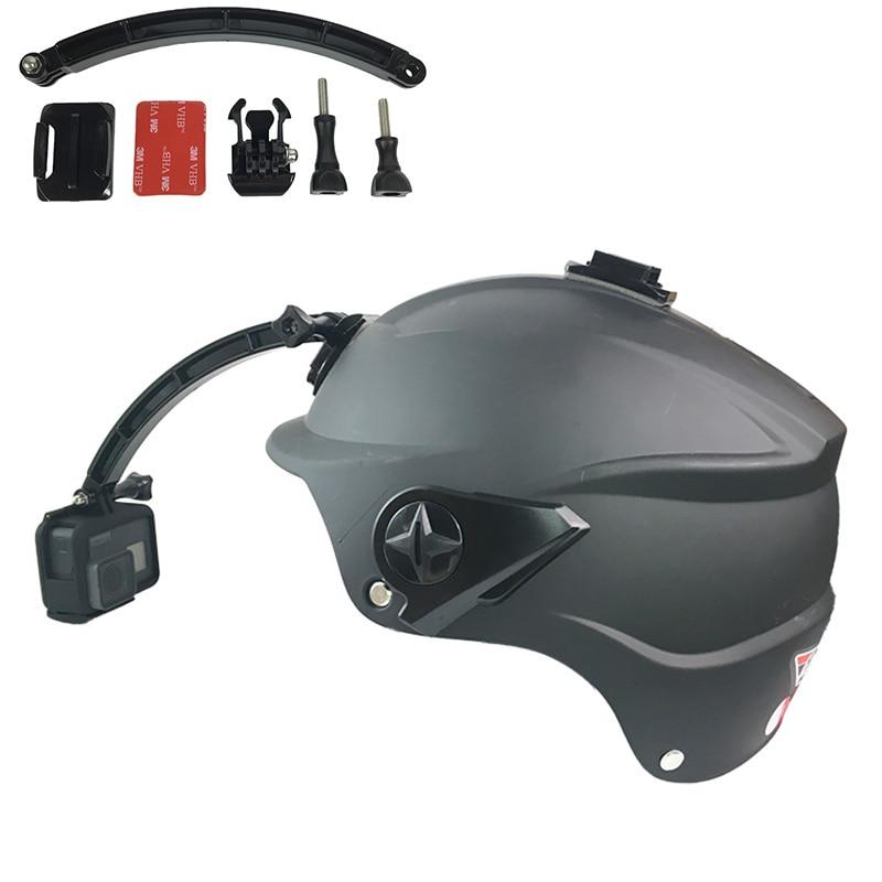Helmet Arm Kit For GoPro Extendable Pole Curved Flat Adhesive Mount Buckles For Go Pro Hero 7 6 5 4 3+ SJCAM EKEN Xiaoyi Yi Cam
