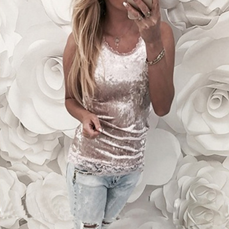 Sexy Velvet T Shirt Pink Off Shoulder   Tank     Tops   Lace Round Neck Patchwork Woman Clothes Sleeveless Casual Slim   Top   Streetwear